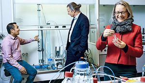 Surendra Pradhan (Left), Riku Vahala and Anna Mikola are testing the new method in the water laboratory