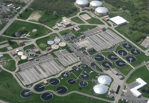 """A wastewater treatment plant in Madison, Wisconsin. """"Ten years from now, the typical treatment plant will probably look pretty different from today,"""" says researcher Daniel Noguera. Credit: Madison Metropolitan Sewerage District"""