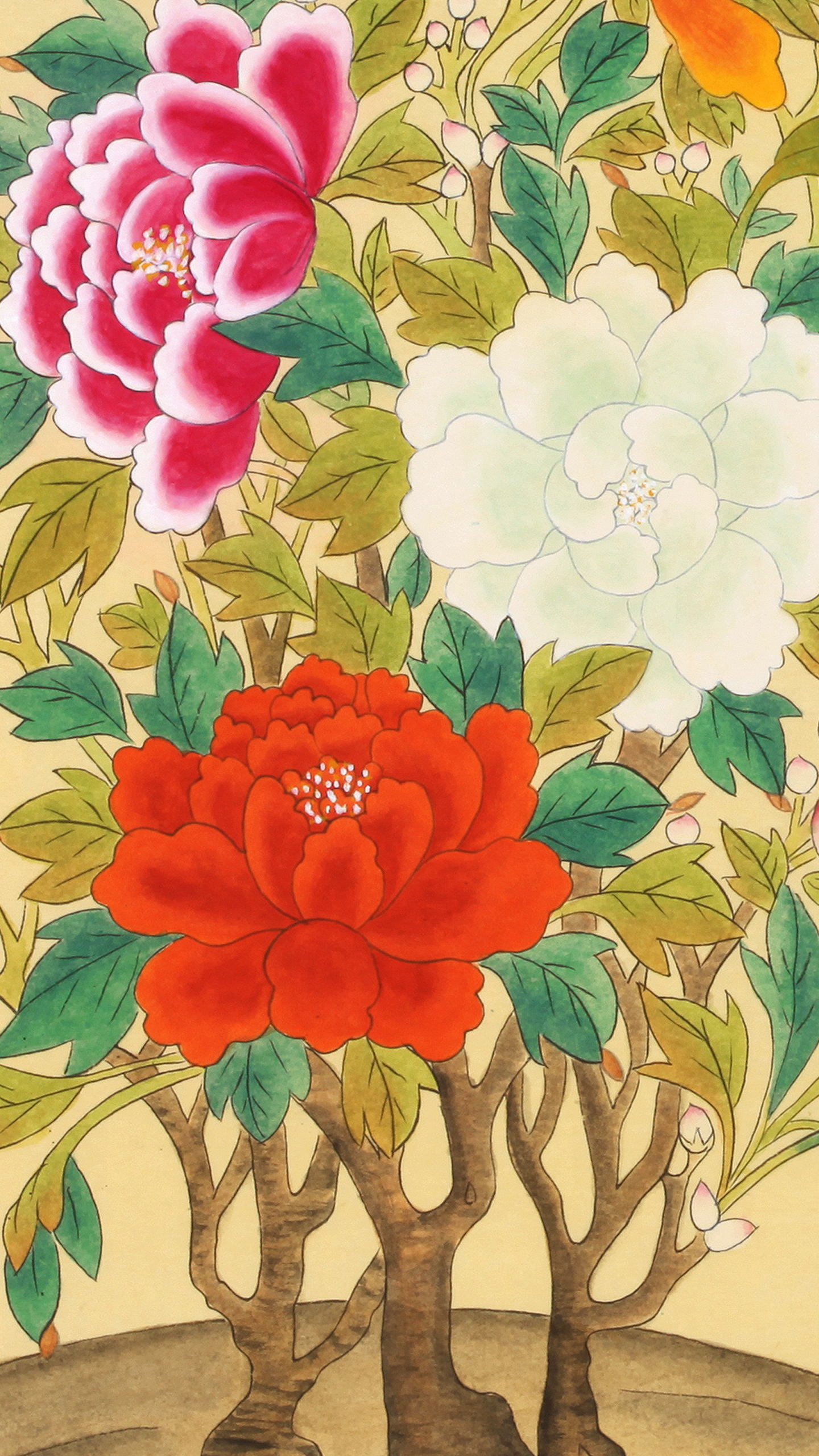 Colorful Moran-do (Paintings of Colorful Peonies_multi)