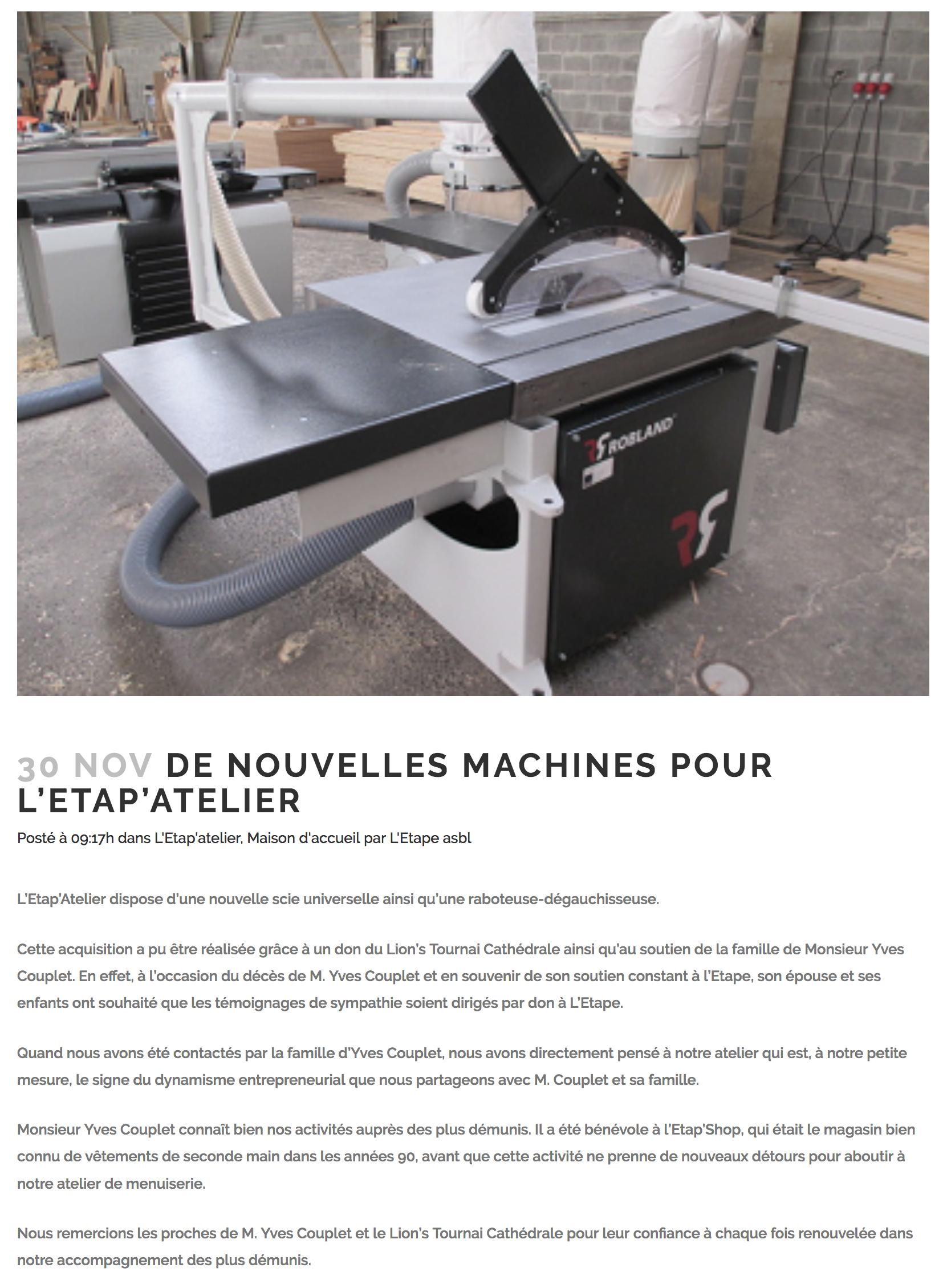 20181130 Etape nouvelle machine