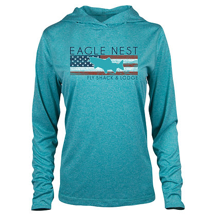 Womens Trout America Performance Long Sleeve Teal