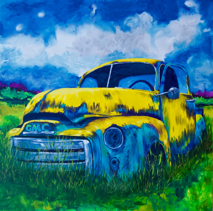 """The Old Truck Is Out There, Planted In The Grassy Field"""