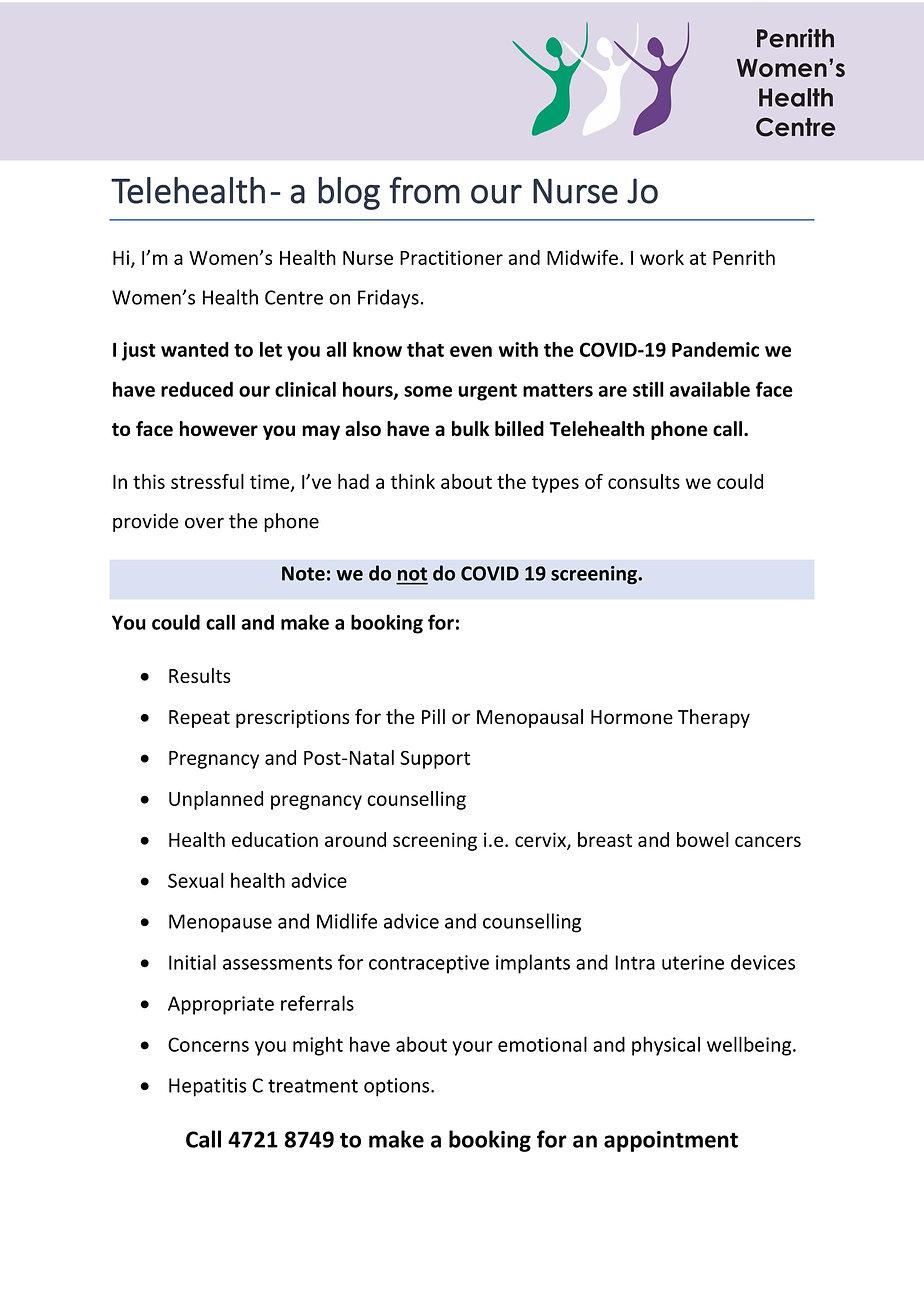 PWHC Nurse Jo advice update - COVID-19 u