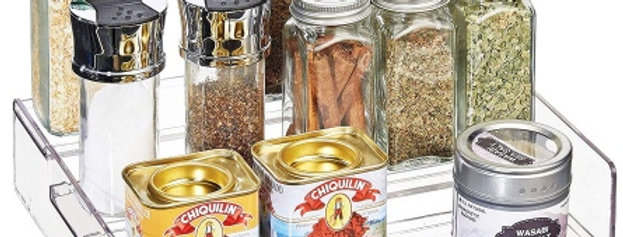 3-Tier Clear Acrylic Spice Rack Countertop Organizer Rack for Kitchen Pantry .