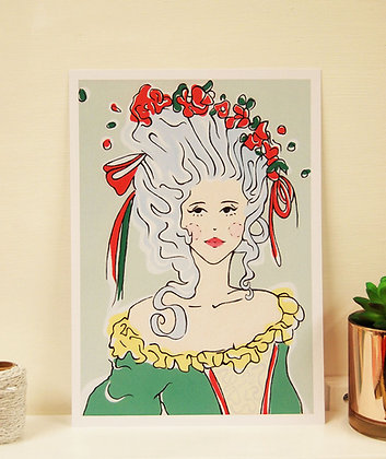 Marie Antoinette Style Lady A4 Print BB