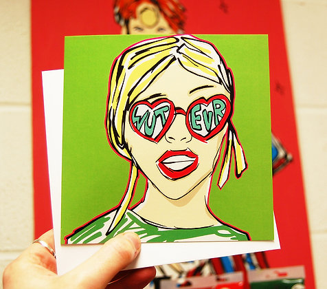Punk Girl With Sunglasses Greetings Card BB