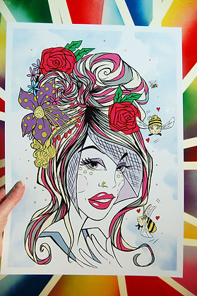 Rockabilly Flower Girl A3 Print BB
