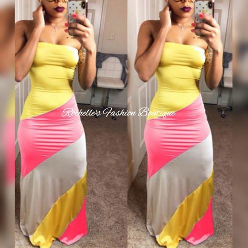 efdadb73d9 Sleeveless Long Yellow And Pink Sundress