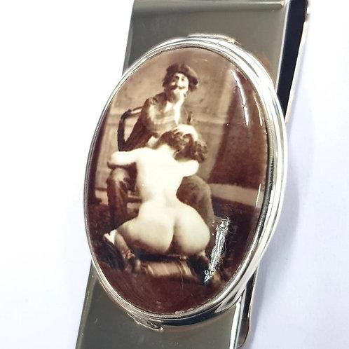 Victorian Style Erotic Enamel 'Artist' Money Clip 925 sterling Silver