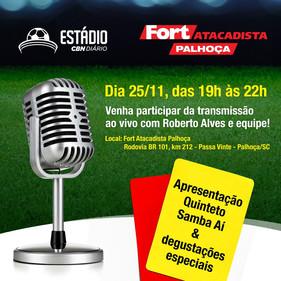Estádio CBN Diário terá transmissão ao vivo direto de Palhoça, nesta segunda (25)