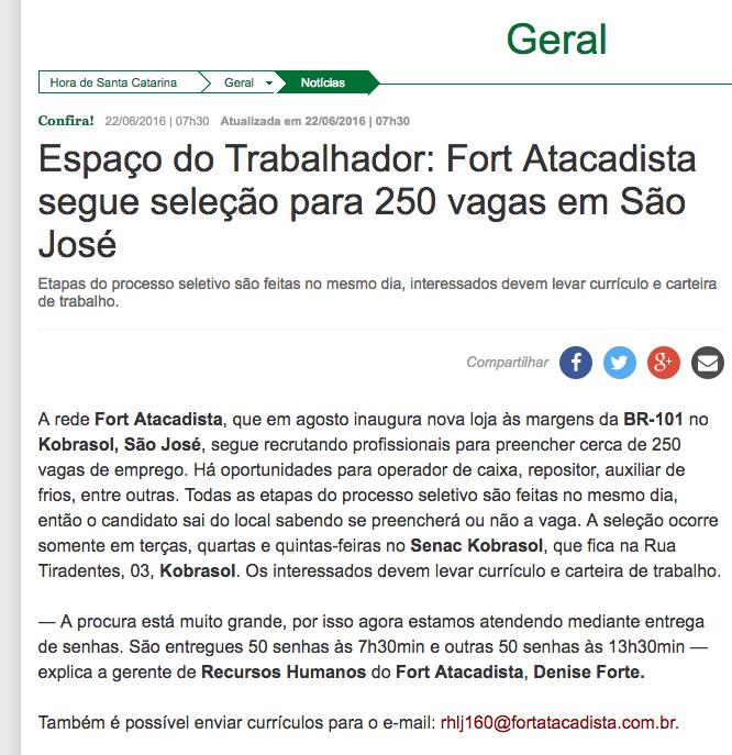 Fort Atacadista - Jornal Hora de SC