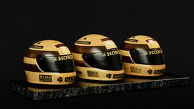 Capacetes do tricampeonato de Ayrton Senna são lembrados em obra de arte