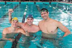 Encontro histório: Gustavo Borges, César Cielo e Thiago Pereira nadam juntos em Florianópolis