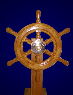 USS Bataan Wooden Ship Wheel Built by South Shore Boatworks 1