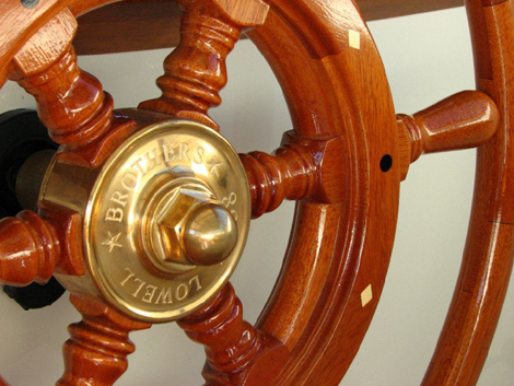 Thorobred Lowell 38 Wooden Ship Wheel by South Shore Boatworks 2