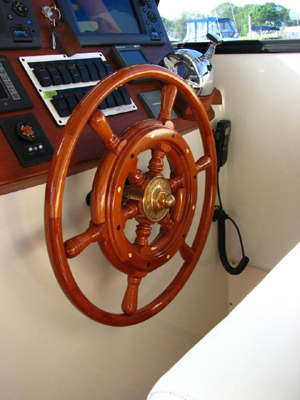 Thorobred Lowell 38 Wooden Ship Wheel by South Shore Boatworks 1