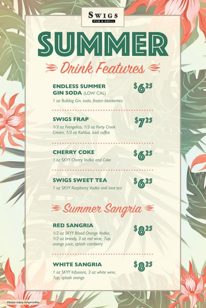 Swigs Summer Drink Menu