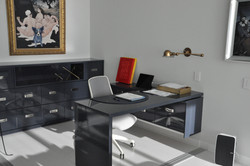 Pivoting home office desk with storage sideboard cabinet