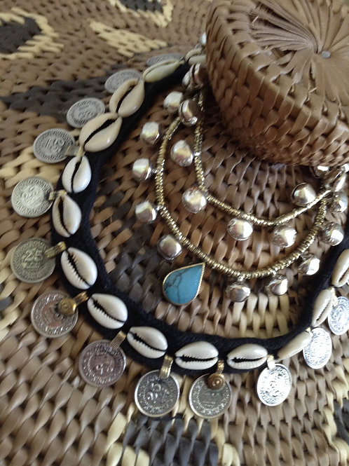 Cowrie coin necklace with Tq or plain anklet