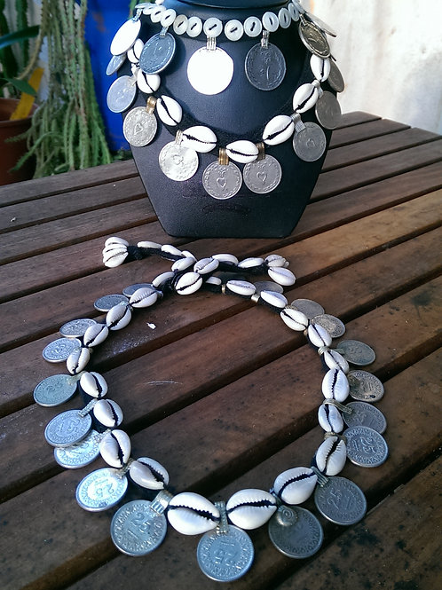 Cowrie and coin necklaces