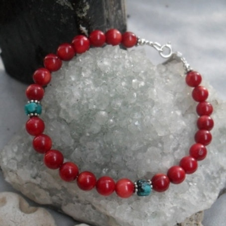 Coral with turquoise bracelet