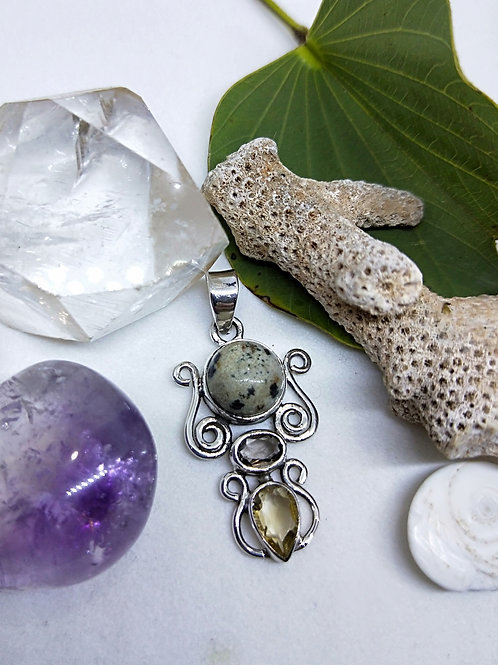 Dalmation jasper, smoky quartz and citrine pendant35