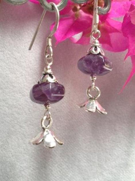 Amethyst Hilltribe  Flower earrings