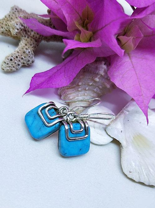 Howlite square earrings