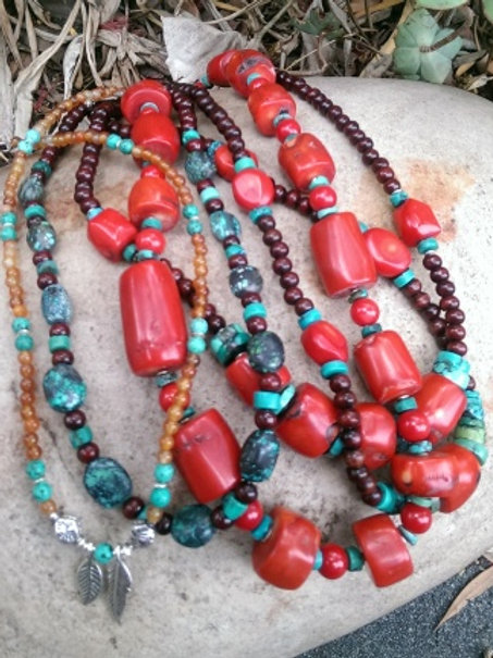 Coral, turquoise & rosewood