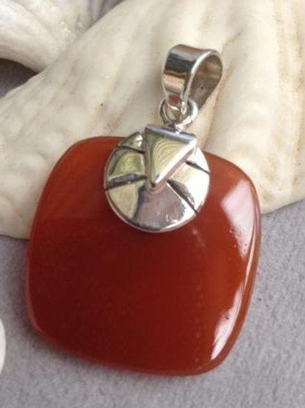 Carnelian square pendant