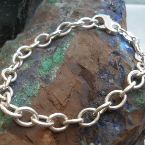 Silver ADCL chain bracelet