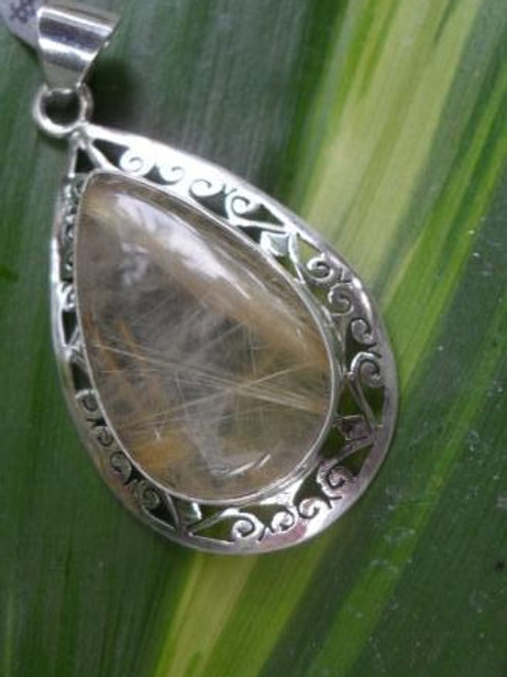 Rutilated Quartz teardrop pendant