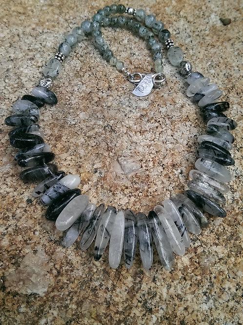 Tourmlinated quartz necklace