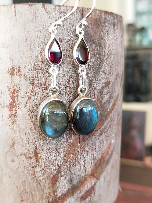 Labradorite and garnet drops