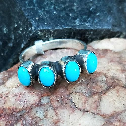 Turquoise 4 stone bezel ring