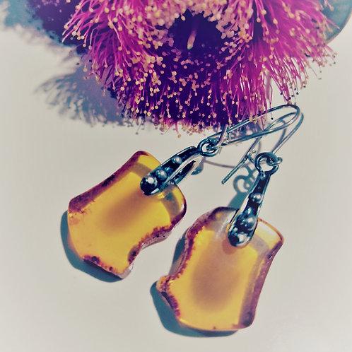 Natural amber slice earrings