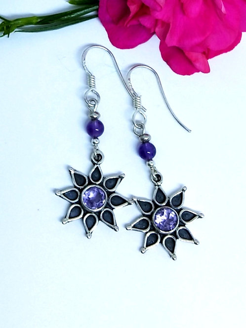 Amethyst star flower earrings