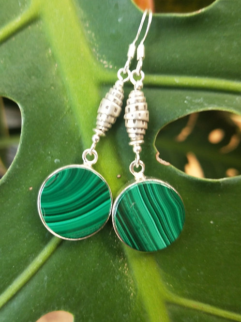 Malachite disc earrings
