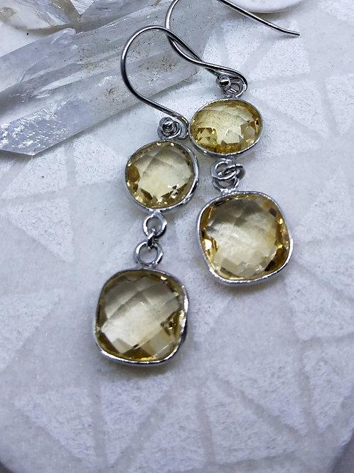 Citrine faceted earrings