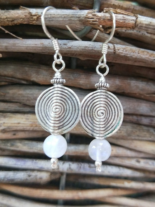 Rainbow moonstone with hilltribe spiral