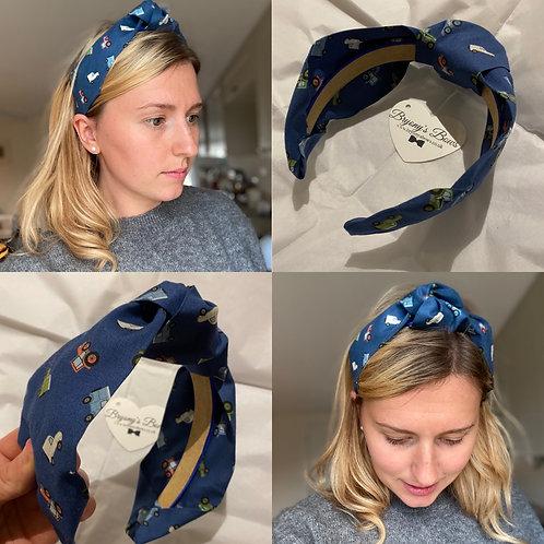 Farm Vehicles Navy Headband