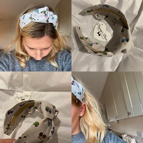 Farm Vehicles Grey Headband