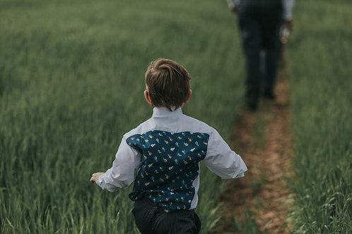 Childrens Farm Vehicles Pattern Evening Shirt & Bow Tie