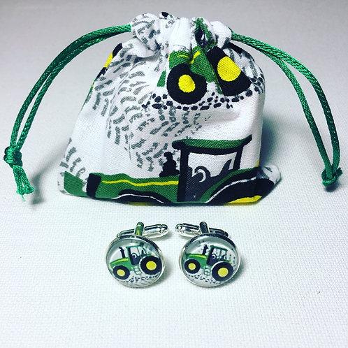 Green Tractor Cufflinks