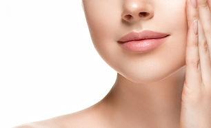 Beautiful skin face closeup woman isolat
