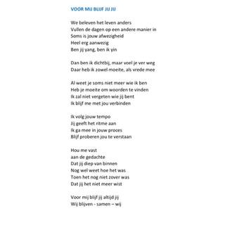 Gedicht 'Voor mij blijf jij jij'  - Esth
