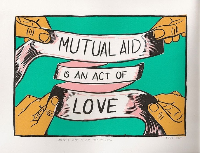 Image says Mutual Aid is an Act of Love written across a pink ribbon. There are 4 hands holding it. Image is taken from https://chuffed.org/project/coast-to-cascades-covid-19-mutual-aid