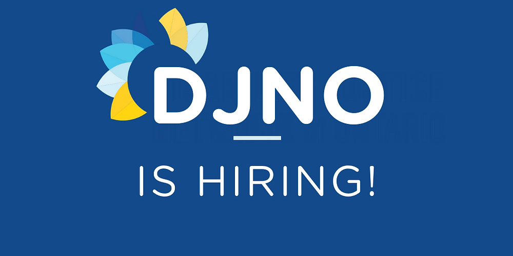 "Navy blue image with bold white text that reads ""DJNO IS HIRING!"". Over the D in DJNO there are 7 petals that make up the DJNO logo"