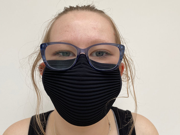 3-pack 3D micropleat 40 wash ear loop black mask