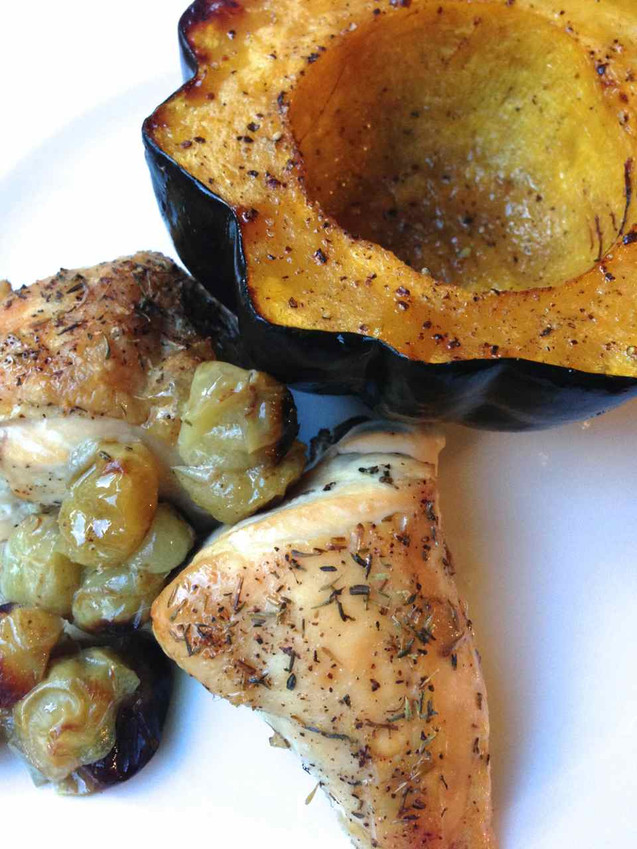 ROASTED THYME CHICKEN WITH GRAPES & HONEY ACORN SQUASH
